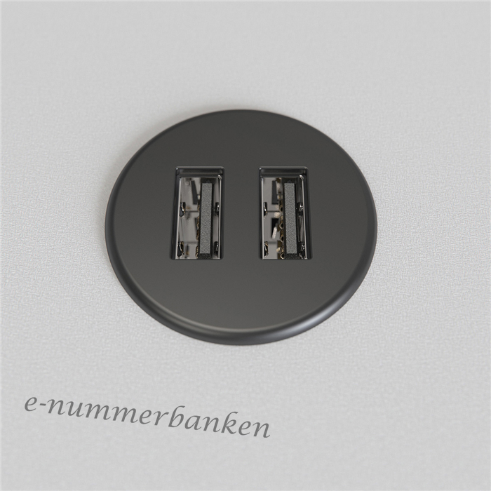 E nummer 11 771 43 USB laddare,2x5V2A,rund,SVmet